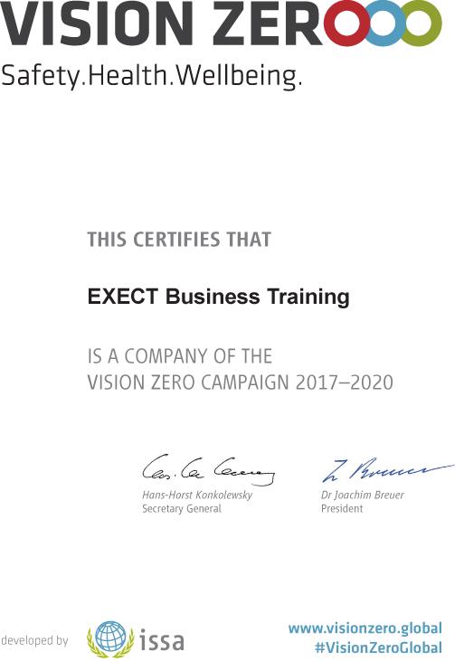 Компания EXECT Business Training присоединилась к VISION ZERO